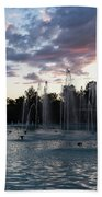 Dancing Jets And Music Sunset - Plovdiv Singing Fountains Bath Towel
