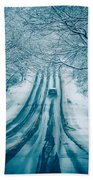 Dangerous Slippery And Icy Road Conditions Bath Towel