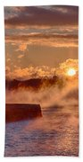 Dawn Peeking Over At Derby Lighthouse Bath Towel