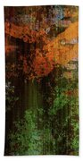 Decadent Urban Brick Green Orange Grunge Abstract Bath Towel