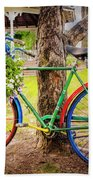 Decorated Bicycle In The Park Bath Towel