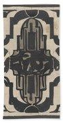 Decorative Design With Two Stylized Lions, Carel Adolph Lion Cachet, 1874 - 1945 Bath Towel