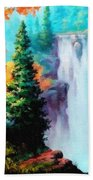 Deep Jungle Waterfall Scene. L A  Bath Towel