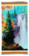 Deep Jungle Waterfall Scene L A With Alt. Decorative Ornate Printed Frame. Bath Towel