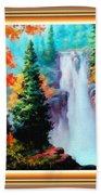 Deep Jungle Waterfall Scene L B With Alt. Decorative Ornate Printed Frame. Bath Towel