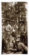 Deer Hunters  With Rifles Circa 1917 Bath Towel