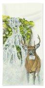 Deer In The Mist Bath Towel