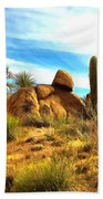 Desert Scene Near Sedona Arizona Painting Bath Towel