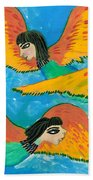 Detail Of Bird People Little Green Bee Eaters Of Upper Egypt 1 Bath Towel