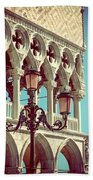 Detail Of Lamp And Columns In Venice. Vertically.  Bath Towel