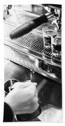 Detail Of Making Espresso Coffee With Machine Bw Bath Towel