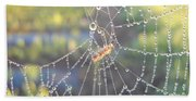 Dew Drops On A Spider Web Bath Towel