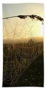 Dew On Spider Web At Sunrise Bath Towel