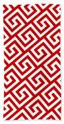 Diagonal Greek Key With Border In Red Bath Towel