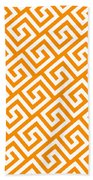 Diagonal Greek Key With Border In Tangerine Bath Towel