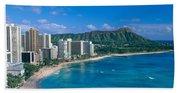 Diamond Head And Waikiki Bath Towel
