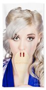 Diet Woman Covering Mouth With Secret Recipe Spoon Bath Towel