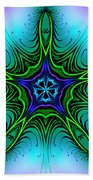 Digital Kaleidoscope Green Star 001 Bath Towel