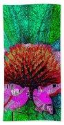 Digital Pink Echinacea  Bath Towel