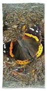 Digital Red Admiral Butterfly - Vanessa Atalanta Bath Towel