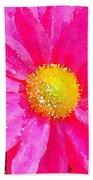 Digital Watercolour Of A Pink Daisy Pollen Flower Bath Towel