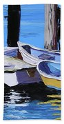 Dinghies At The Dock Bath Towel