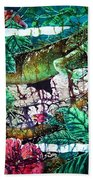 Dining At The Hibiscus Cafe - Iguana Hand Towel