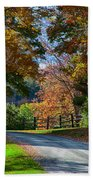 Dirt Road Through Vermont Fall Foliage Bath Towel