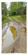 Dirty Autumn Road With Brown Pools After Rain Bath Towel