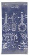 Dixie Banjolele Patent 1954 In Grunge Blue Bath Towel
