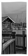 Dock At Mandarin Park Black And White Bath Towel