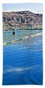 Docks Form Perimeter Of Dierkes Lake In Snake River  Near Twin Falls-idaho  Bath Towel