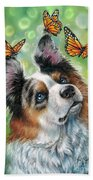 Dog With Butterflies Bath Towel