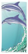 Dolphins Jumping Out Of The Water Bath Towel