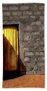 Doorway To A Yellow Curtain Bath Towel