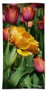 Double Petal Yellow Tulip Bath Towel