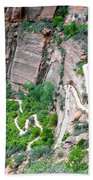 Downhill Switchbacks From Angels Landing Bath Towel