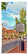 Downtown Blacksburg With Historical Marker Bath Towel