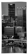 Downtown Pittsburgh At Twilight - Black And White Bath Towel