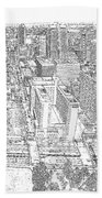 Downtown St. Louis Panorama Sketch Bath Towel