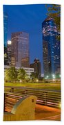 Dowtown Houston By Night Bath Towel