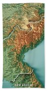 Dpr Korea 3d Render Topographic Map Border Bath Towel