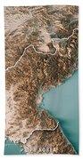 Dpr Korea 3d Render Topographic Map Neutral Border Bath Towel