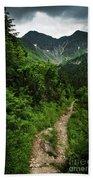 Dramatic Mountain Landscape With Distinctive Green Bath Towel
