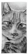 Drawing Of A Cat In Black And White Hand Towel