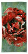 Dripping Poster Rose On Green Bath Towel