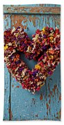 Dry Flower Wreath On Blue Door Bath Towel
