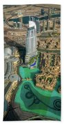Dubai Downtown Aerial View By Sunset, Dubai, United Arab Emirates Bath Towel