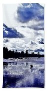 Duck Soars Little Togus Pond Storm Clouds Augusta Bath Towel