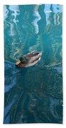 Duck Swimming In The Blue Lagoon Bath Towel